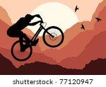 Mountain bike rider in wild nature landscape - stock vector