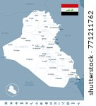 iraq map and flag   high... | Shutterstock .eps vector #771211762