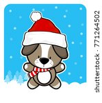 cute baby dog with santa claus... | Shutterstock .eps vector #771264502
