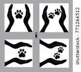 dog's paws in hands of people ... | Shutterstock .eps vector #771266512