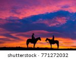 cowboy and cowgirl silhouette... | Shutterstock . vector #771272032