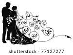 bride and groom looking into... | Shutterstock .eps vector #77127277