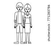 couple monochrome silhouette... | Shutterstock .eps vector #771283786