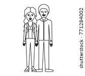 couple monochrome silhouette... | Shutterstock .eps vector #771284002
