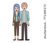 couple colorful silhouette and... | Shutterstock .eps vector #771285172