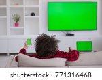 young handsome man in bathrobe... | Shutterstock . vector #771316468