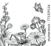 spring flowers frame hand... | Shutterstock .eps vector #771329116