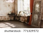 vintage room with dirty walls ...   Shutterstock . vector #771329572