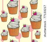 cupcake seamless design | Shutterstock .eps vector #77133217