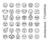 set of detailed outline emoji.... | Shutterstock .eps vector #771344026