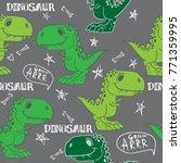 seamless cute dinosaur pattern.... | Shutterstock .eps vector #771359995