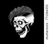 hipster skull illustration on...   Shutterstock . vector #771366352