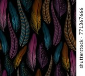 decorative feathers seamless | Shutterstock .eps vector #771367666