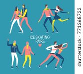 cartoon ice skating pairs set.... | Shutterstock .eps vector #771368722