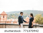 a loving young beautiful couple ... | Shutterstock . vector #771370942