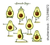 avocado yoga. funny vector... | Shutterstock .eps vector #771398872