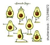 avocado yoga. funny vector... | Shutterstock .eps vector #771398872
