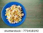 Crab Salad On Blue  Plate. Cra...