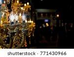 chrystal chandelier glowing... | Shutterstock . vector #771430966