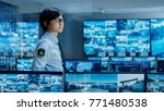 in the security control room... | Shutterstock . vector #771480538