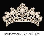 Illustration of a female wedding diadem, crown, tiara gold with precious stones and pearls on a black background