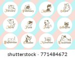 12 month with cartoon cat for... | Shutterstock .eps vector #771484672