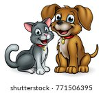 Stock vector cat and dog pet mascot cartoon characters 771506395