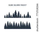 Hand Drawn Pine Forest Texture...
