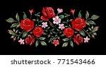 rose embroidery design  flower... | Shutterstock .eps vector #771543466