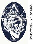 skull of the bearded hipster in ... | Shutterstock .eps vector #771551866