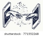 new technology. human hands... | Shutterstock .eps vector #771552268