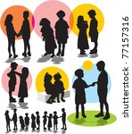 set vector silhouettes with... | Shutterstock .eps vector #77157316