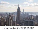 new york city skyline at sunset  | Shutterstock . vector #771575206