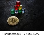 gold bitcoin and dice in... | Shutterstock . vector #771587692