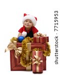 little girl wearing santa hat...   Shutterstock . vector #7715953