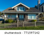 two story beach house with gray ... | Shutterstock . vector #771597142