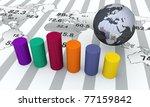 world map with bar chart | Shutterstock . vector #77159842
