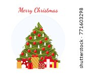 christmas tree with gifts.... | Shutterstock .eps vector #771603298