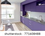 Stock photo kitchen interior in light colors scandinavian style in colors of the year ultra violet 771608488