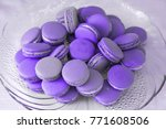 macarons on a plate in colors... | Shutterstock . vector #771608506
