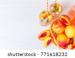 peach summer cocktail or... | Shutterstock . vector #771618232