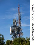 bunch of antennas on tower on... | Shutterstock . vector #771623956