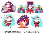 christmas cartoon santa claus... | Shutterstock .eps vector #771638572