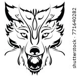 beautiful wolf tattoo.vector... | Shutterstock .eps vector #771640282