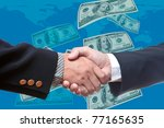 shake hands with bank note... | Shutterstock . vector #77165635