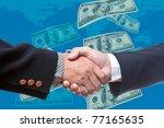 shake hands with bank note... | Shutterstock . vector #77165635