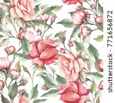 seamless pattern with roses.... | Shutterstock . vector #771656872