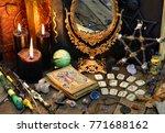 tarot cards  magic wands  runes ... | Shutterstock . vector #771688162