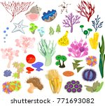 set of different species of... | Shutterstock .eps vector #771693082