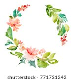 watercolor wreath. winter... | Shutterstock . vector #771731242